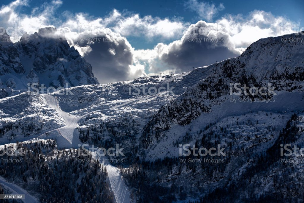 Passo San Pellegrino and Falcade ski region in Winter, Italian Dolomites stock photo