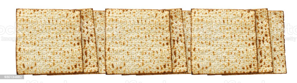passover banner background with matzoh isolated on white. stock photo