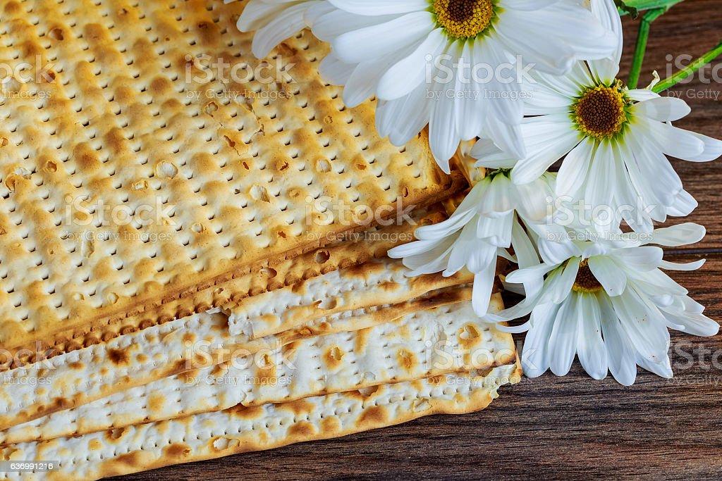passover jewish food Pesach matzo and matzoh bread stock photo