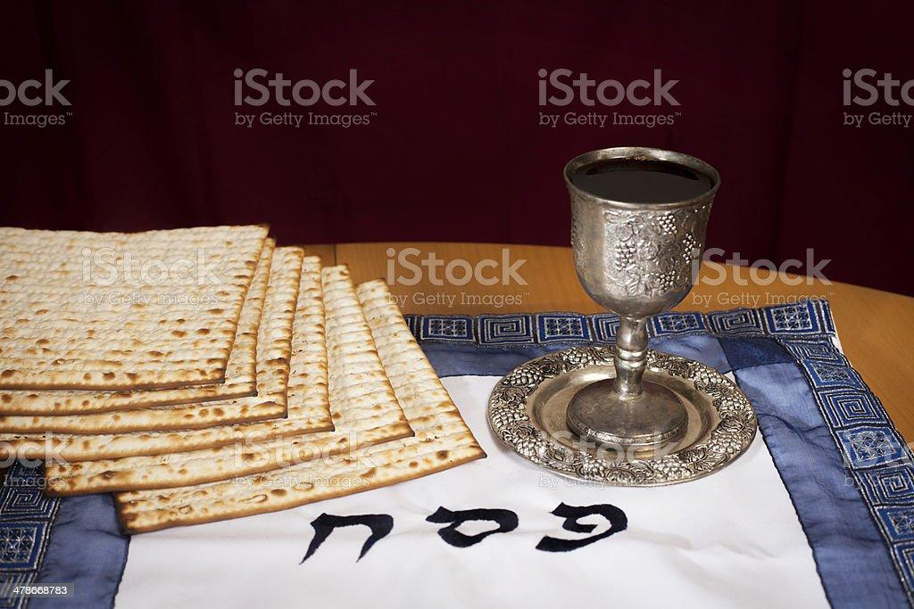 Passover- Matzo and wine royalty-free stock photo