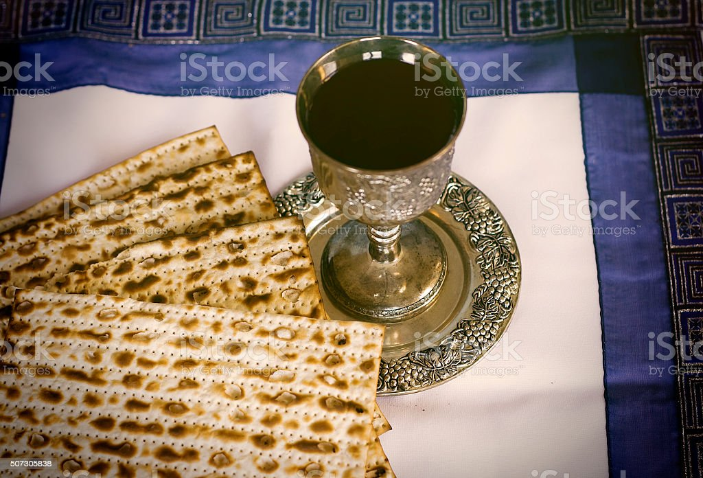 Passover: matzo and wine stock photo