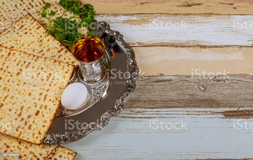 passover matzoh jewish traditional sedder plate stock photo