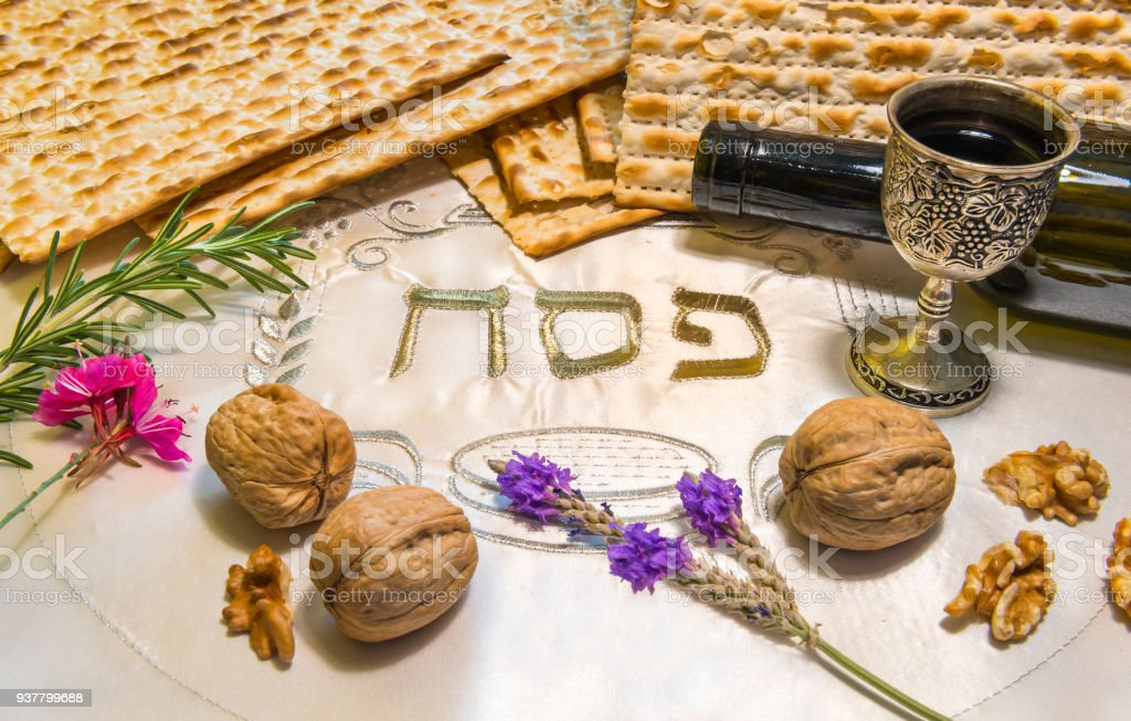 Passover Plate And Its Symbols With The Word Passover Written In