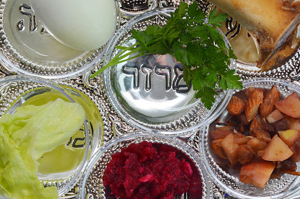 passover seder plate - passover stock photos and pictures