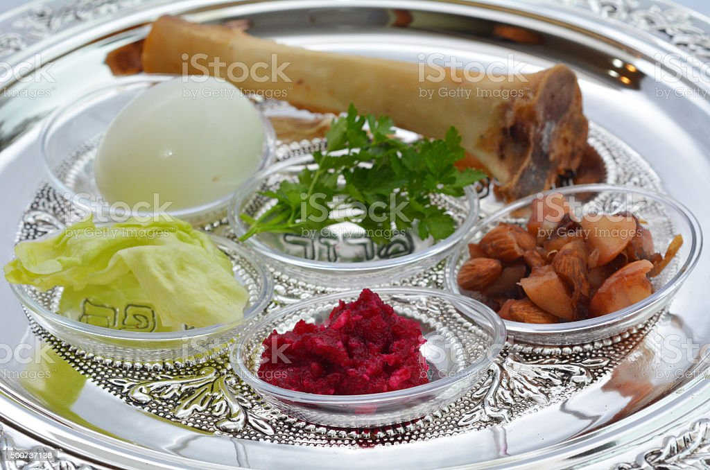Passover Seder Plate stock photo
