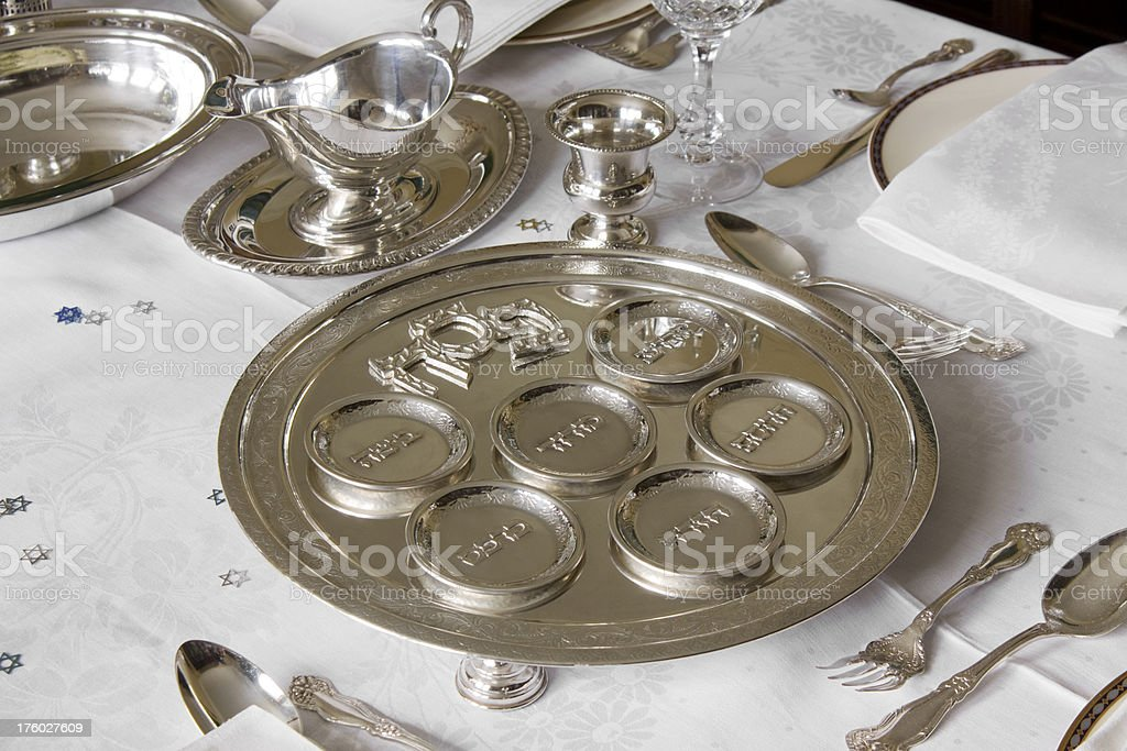 Passover silver plate stock photo