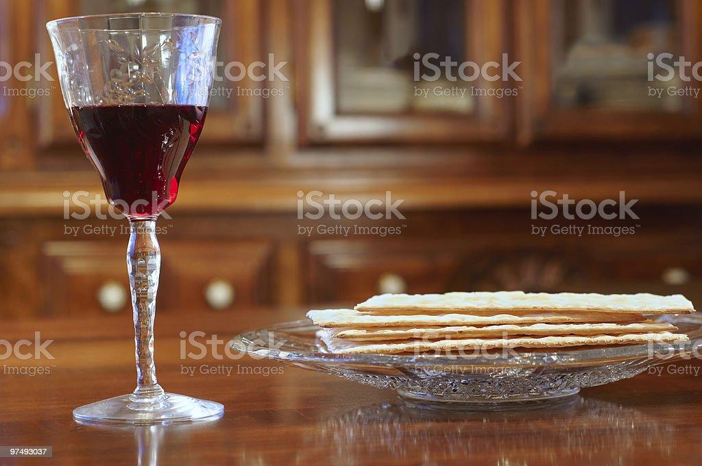 Passover wine and matzoh royalty-free stock photo