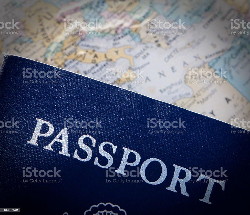 Passport against world map stock photo