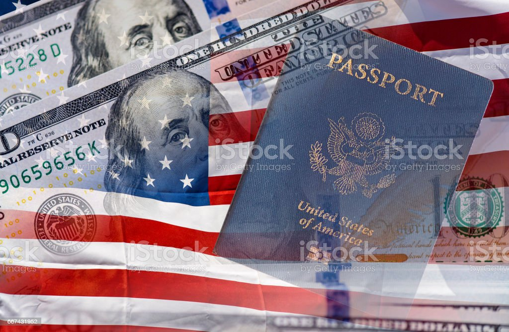 US passport, American flag and one hundred dollars. Independence Day concept. stock photo