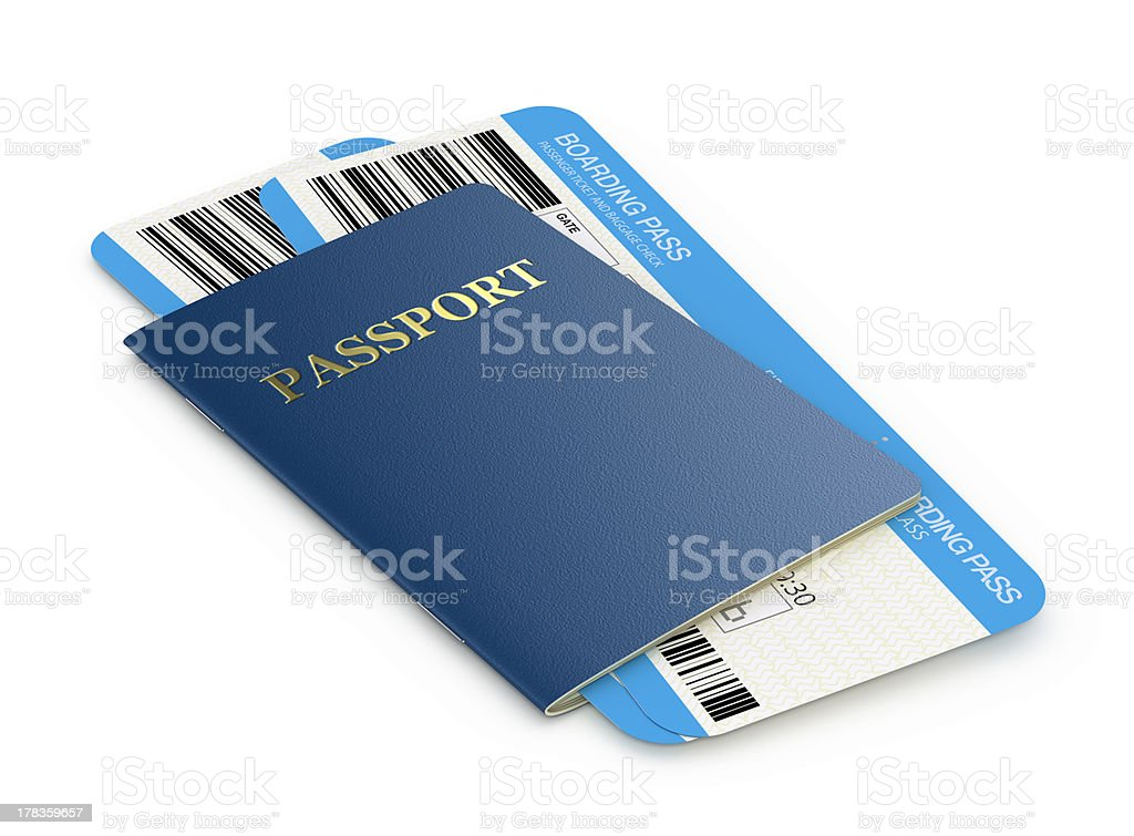Passport and airlinetickets stock photo
