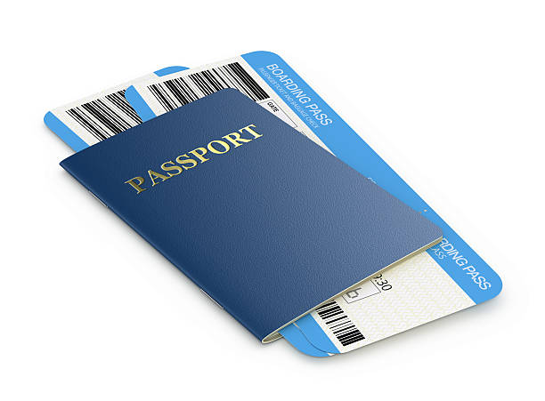 passport and airlinetickets - aeroplane ticket stock photos and pictures
