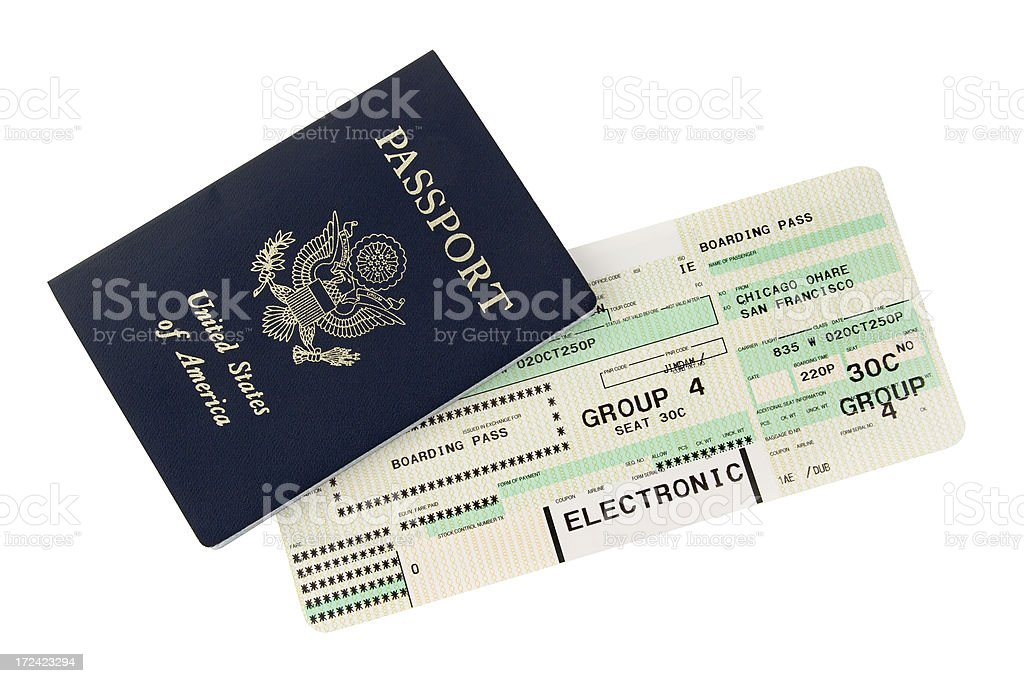Passport and boarding pass design stock photo