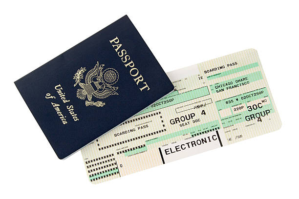 passport and boarding pass design - aeroplane ticket stock photos and pictures