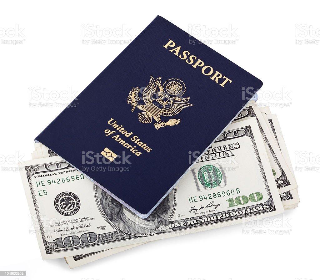 USA Passport and Cash royalty-free stock photo