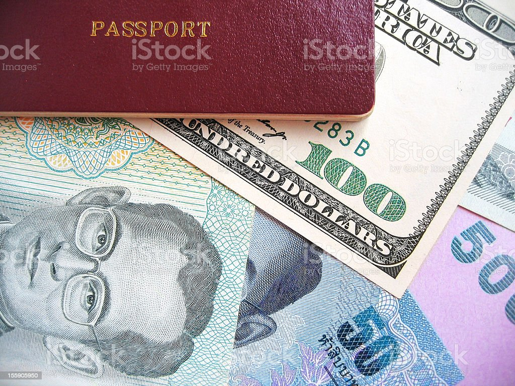 Passport and Currency Background royalty-free stock photo