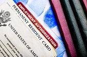 USA permanent resident card (Green Card) with Employment Authorization card next to passports and fingerprints