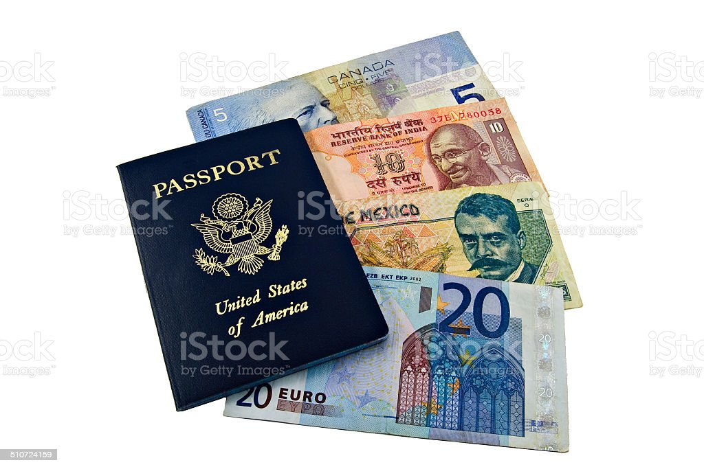 US Passport and International Money stock photo