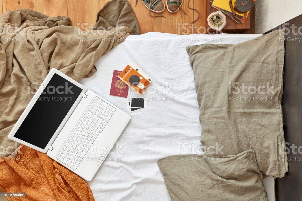 Laptop, Camera, Passport, Bed, Pillow, Bedroom, Hotel Room, Domestic...