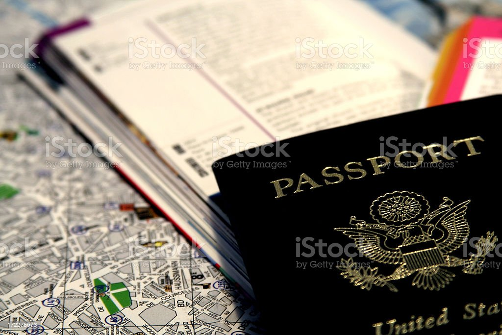 Passport and Map royalty-free stock photo