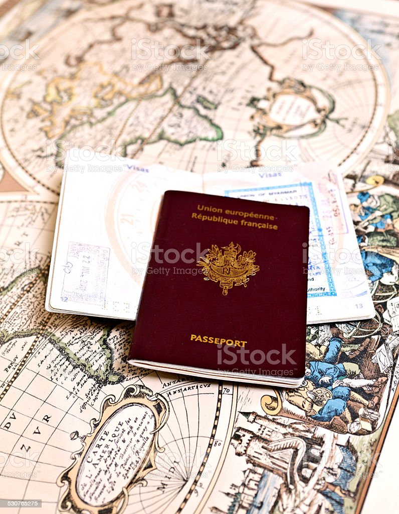 passport and map stock photo