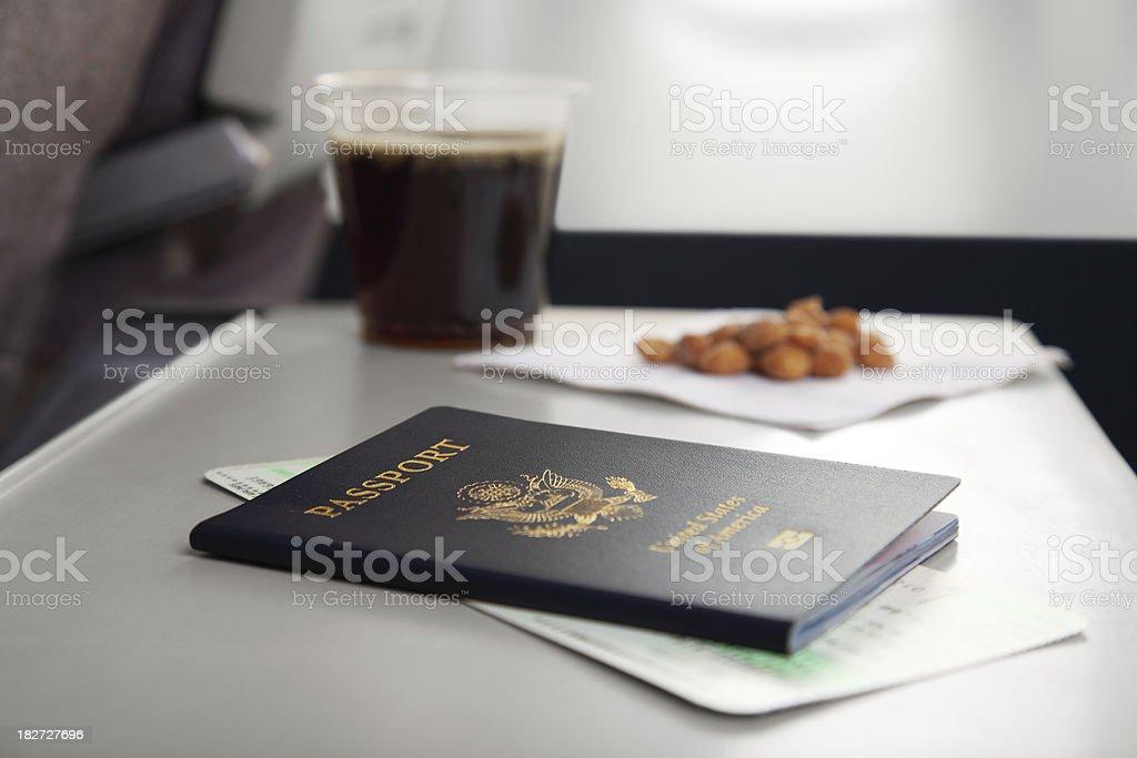 Passport and Peanuts stock photo