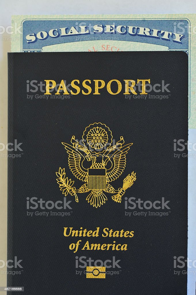 US Passport and Social Security card stock photo