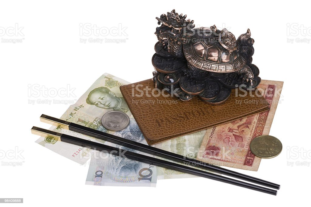 Passport and souvenirs from the China. royalty-free stock photo