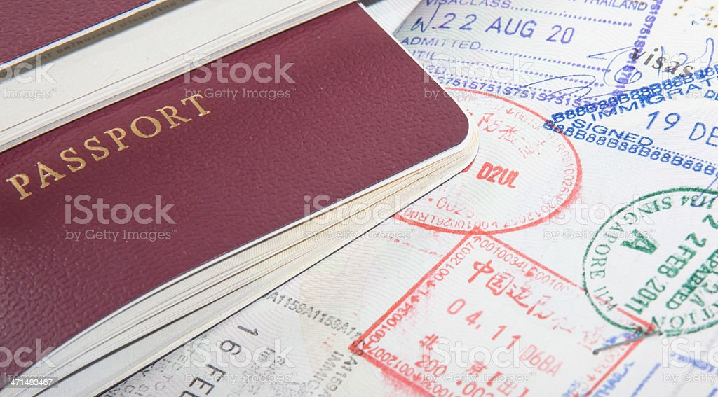 Passport and Travel Stamps royalty-free stock photo