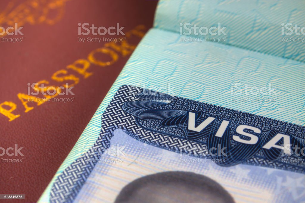 Passport and US Visa for Immigration stock photo