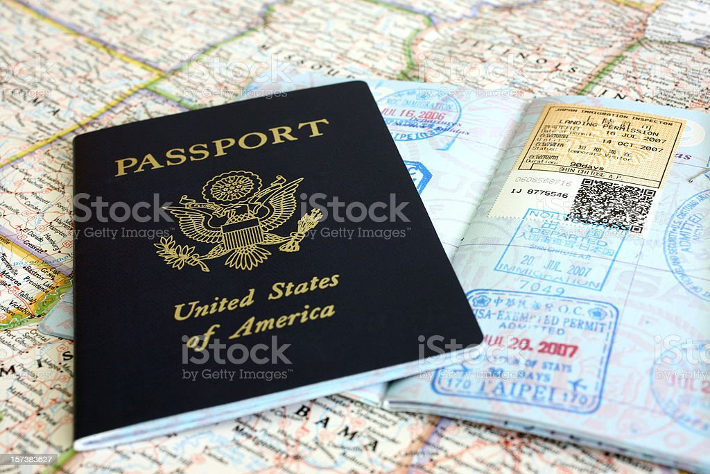 Passport and Visa Stamps stock photo