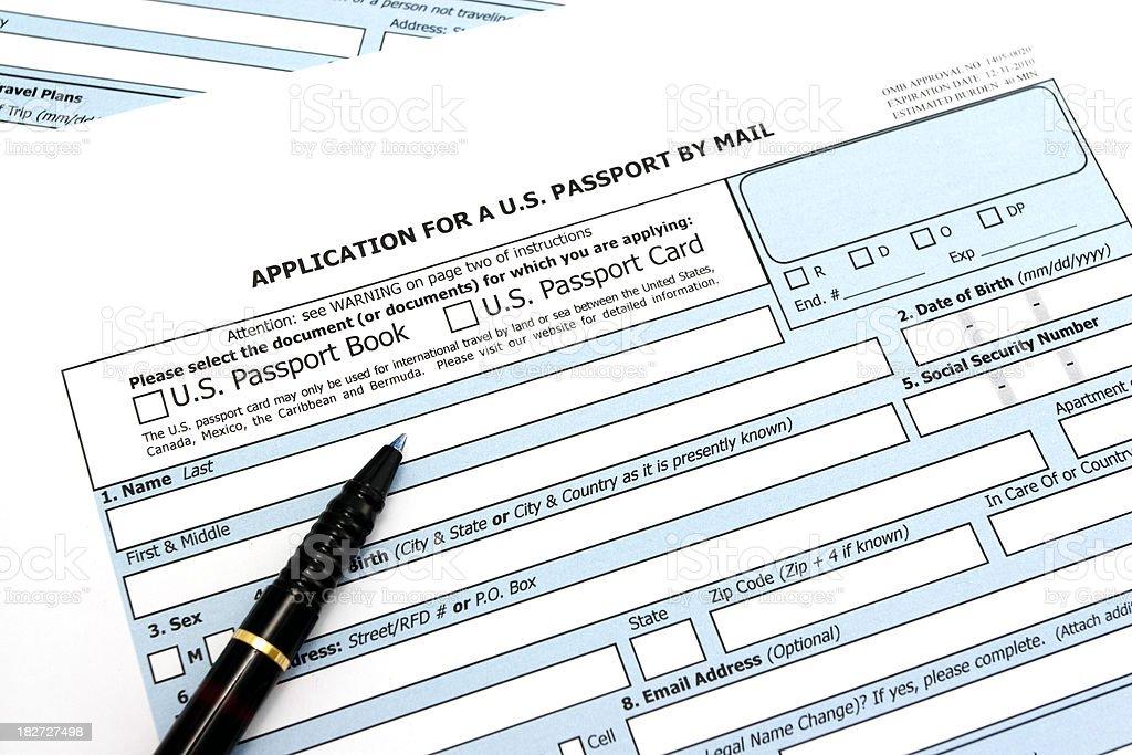 US passport application form in high keySimilar here:
