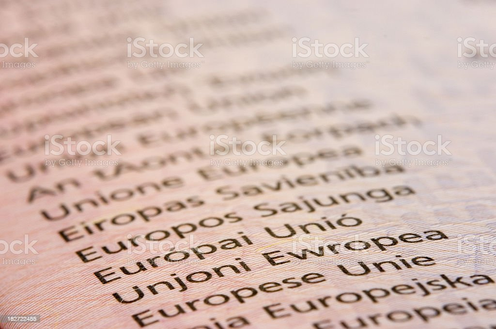 EU Passport: Close Up royalty-free stock photo