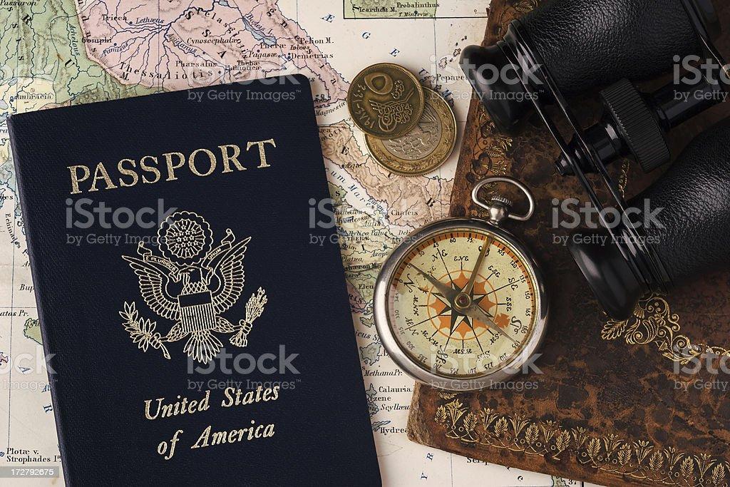Passport, Compass & Binoculars royalty-free stock photo