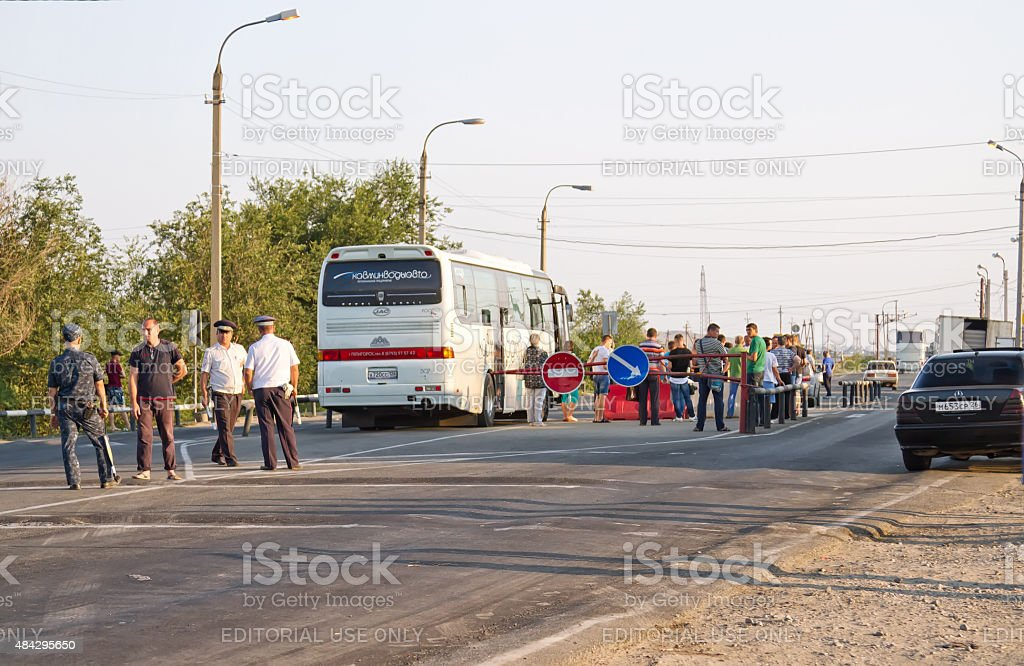 passport control all intercity buses stock photo