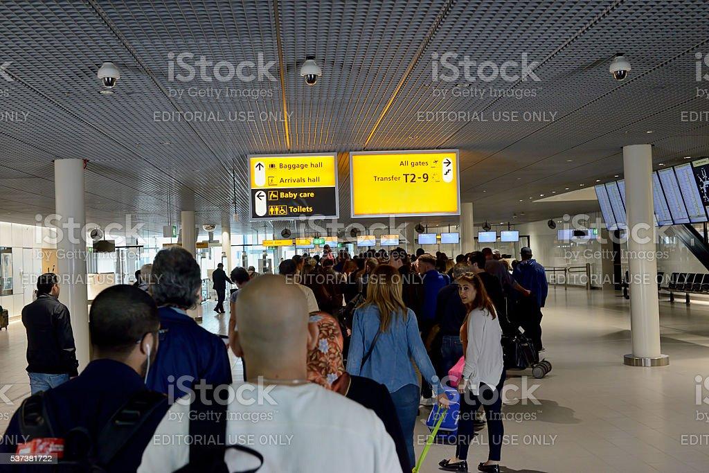 Passport control at Schipol Airport stock photo