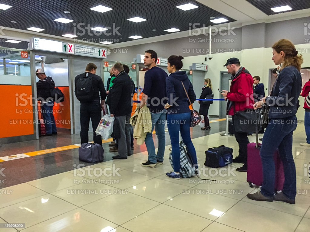 Passport Control at Sheremetyevo Airport, Moscow, Russia stock photo