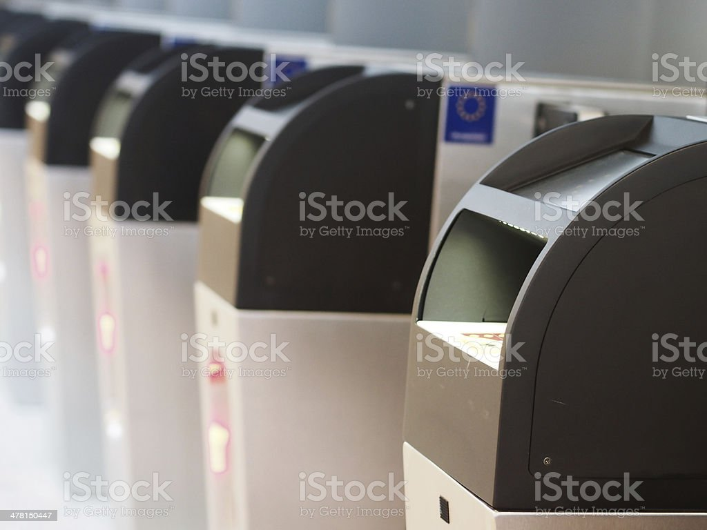 Passport control gates stock photo