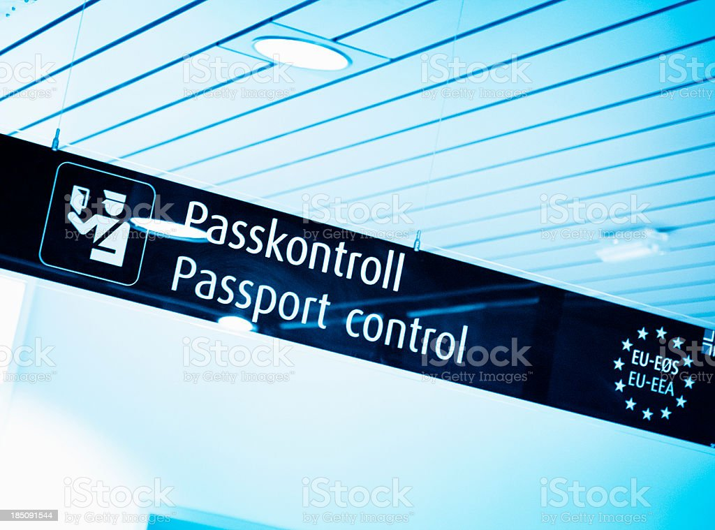 Passport control signs in airport royalty-free stock photo