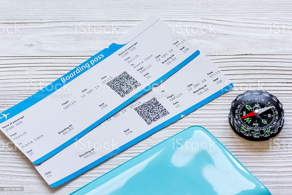passport, credit card, tickets on wooden background stock photo