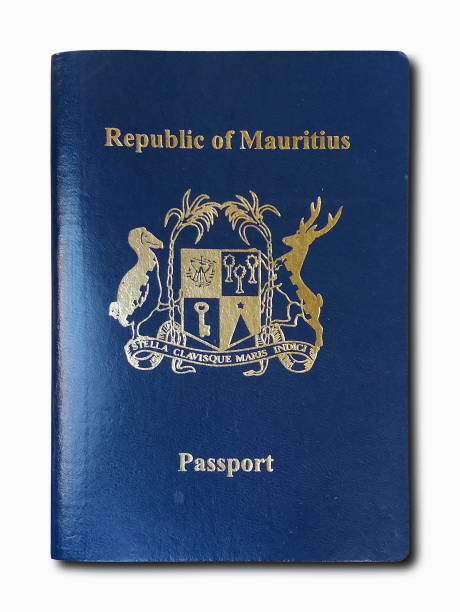 Passport from Mauritius isolated on a white background stock photo