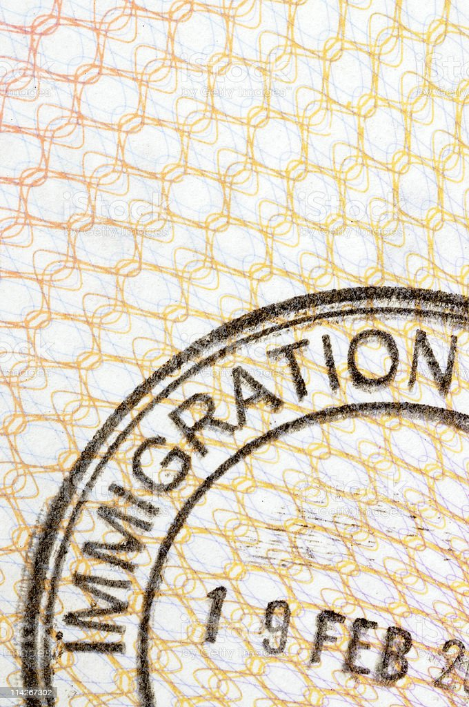 Passport immigration stamp royalty-free stock photo
