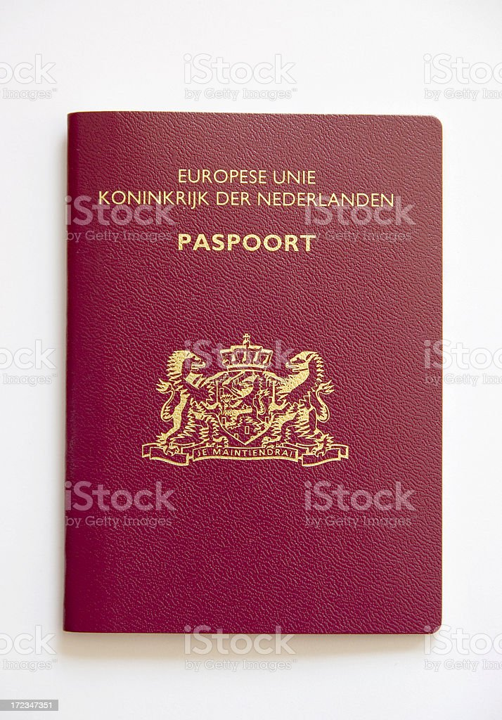 Passport (Dutch) Isolated on White royalty-free stock photo