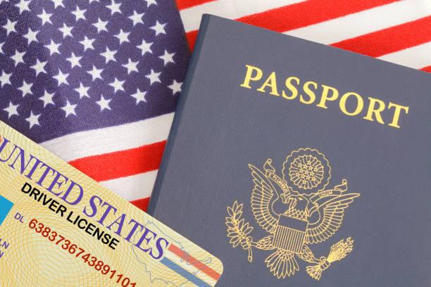 reisepass-lizenz-flagge - führerschein stock-fotos und bilder