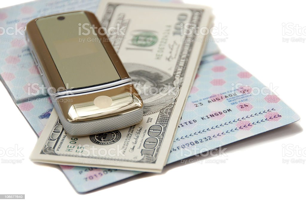 passport, money and cellphone for travel royalty-free stock photo