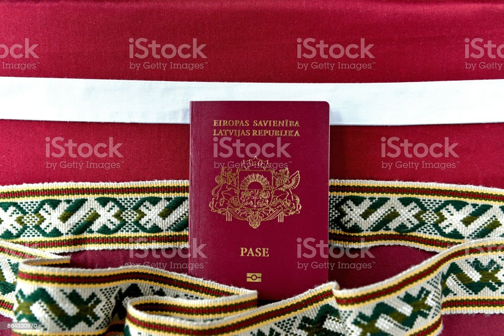 Passport of Latvia stock photo