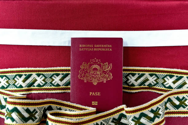 Passport of Latvia stock photo