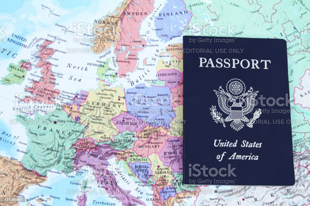 Usa Passport On Map Of Europe Stock Photo - Download Image ...