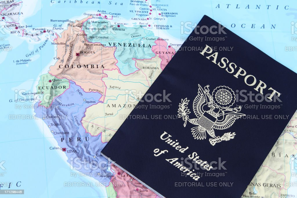 Usa Passport On Map Of South America Stock Photo & More Pictures of ...