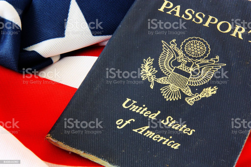 USA passport on The US flag background stock photo