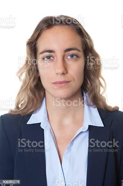 Passport photo of blond businesswoman with blue eyes and blazer picture id506300276?b=1&k=6&m=506300276&s=612x612&h= 6ir2lwuf1 f2snwpy2mvjqhsrsd6ctozjbvkcdnar8=